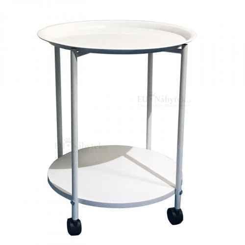 Příruční stolek s kolečky, bílá, DERIN