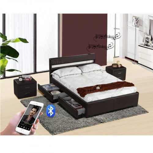 Moderní postel s Bluetooth reproduktory a RGB LED osvětlením, černá, 180x200, Fabala