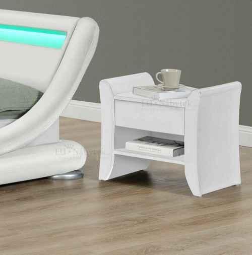 Noční stolek, bíla ekokůže, BOLTON