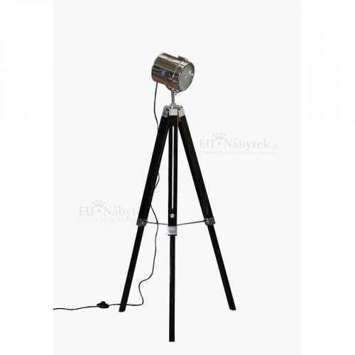 Stojací lampa, černé dřevo / kov, CINDA TYP 26