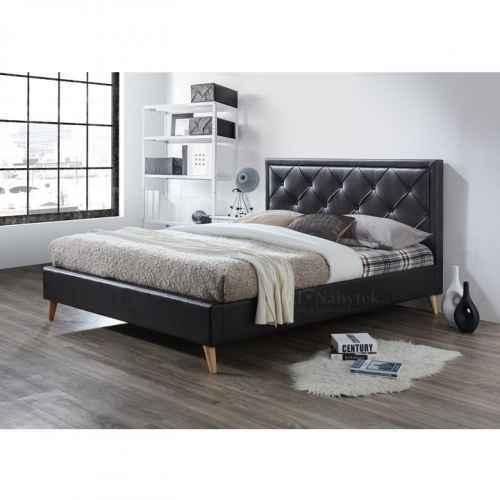 Manželská postel, tmavohnědá ekokůže, 160x200, Puffie