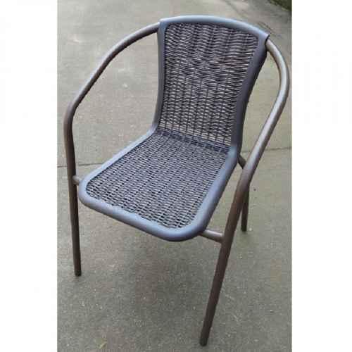 Židle, stohovatelná, tmavě hněda / nohy černý kov, VARDA