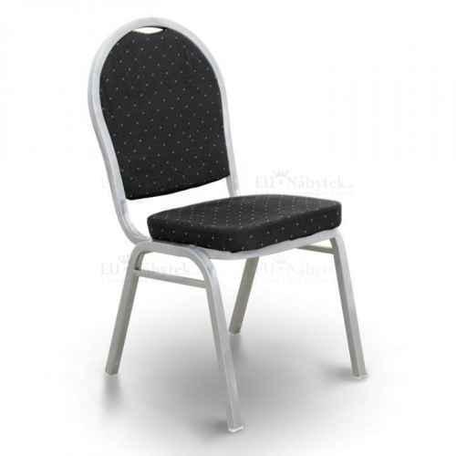 Židle, stohovatelná, látka černá / rám šedý, JEFF 2 NEW