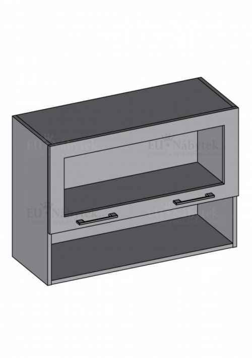 Kuchyňská skříňka DIAMOND, horní vitrína 80 cm, oranžová - diamond skříňky oranžová