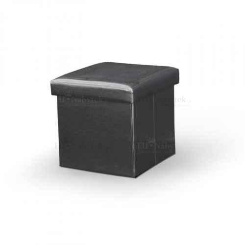 Skládací taburet, ekokůže černá, TELA NEW