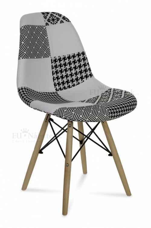 Skandinávská židle AMI patchwork černá / bílá DOPRODEJ