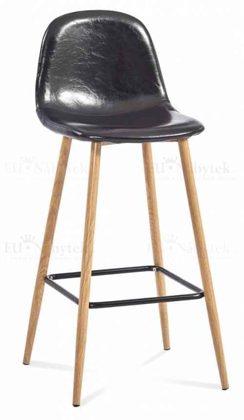 Skandinávská barová židle SIMONE 2 hoker černá ekokůže