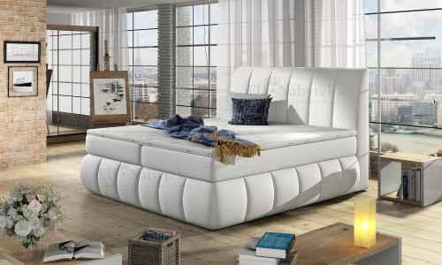 Kontinentální postel Boxspring RAVIOLI bílá ekokůže 180x200cm