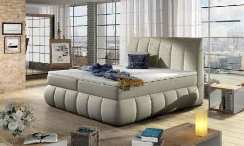Kontinentální postel Boxspring RAVIOLI béžová vzor 180x200cm