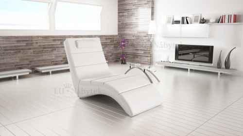 Relaxační křeslo TONGUE bílá ekokůže