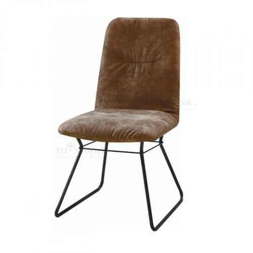 Moderní židle, hnědá látka / černý kov, ALMIRA