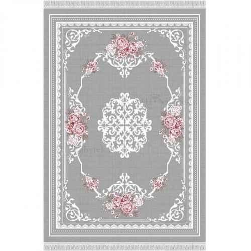Koberec, šedá / vzor květiny, 80x150, SEDEF TYP 2
