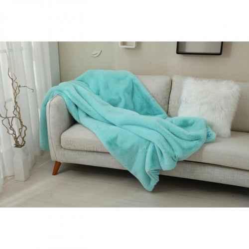 Kožešinová deka, světlemodrá, 150x180, RABITA TYP 4