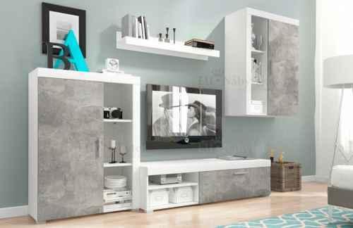 Obývací stěna LILA bílá / beton