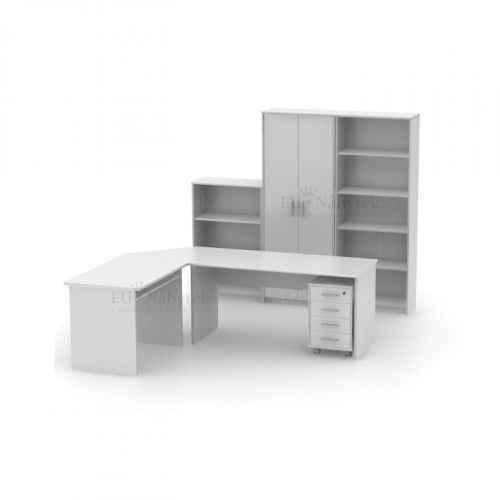 Kancelářská sestava, bílá, JOHAN NEW