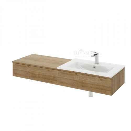Umyvadlová skříňka, pravá, dub riviera / bílý lesk, KIARA