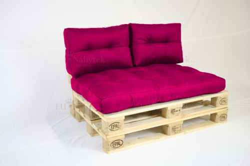 Paletový sedák s polštáři-růžová