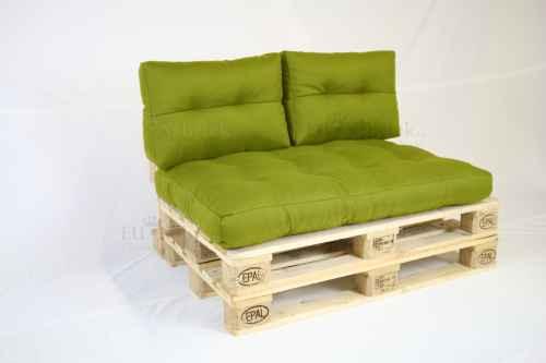 Paletový sedák s polštáři - zelená