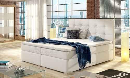 Kontinentální postel Boxspring INNA bílá ekokůže 140x200cm