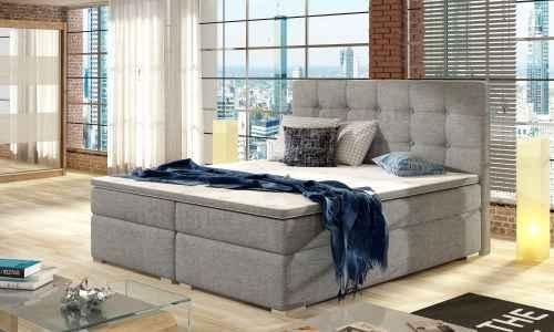 Kontinentální postel Boxspring INNA sv.šedá 160x200cm