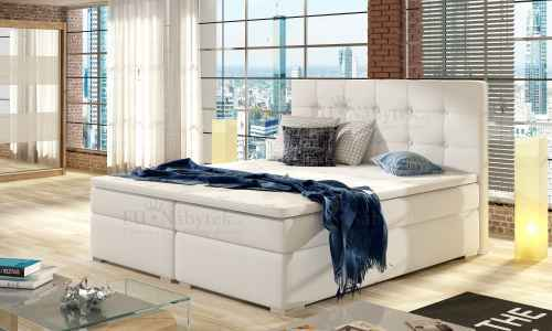 Kontinentální postel Boxspring INNA bílá ekokůže 160x200cm