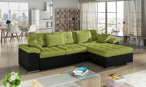 Rozkládací rohová sedačka MIA L zelená / černá
