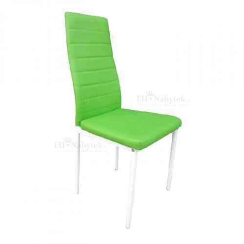 Židle, ekokůže zelená/ kov bíla, COLETA NOVA
