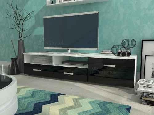 RTV stolek LEONA bílá/černá lesk