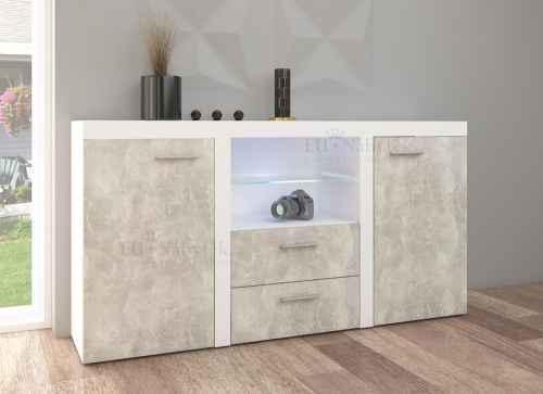 Komoda RUMBASO bílá/beton