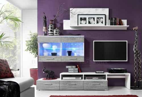 Obývací stěna ZARA bílá/beton