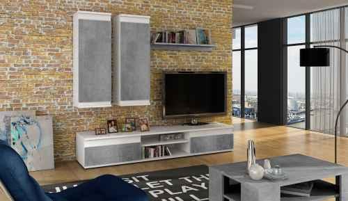 Obývací stěna EMANUEL bílá / beton