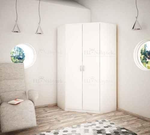 Rohová šatní skříň OLLI bílá