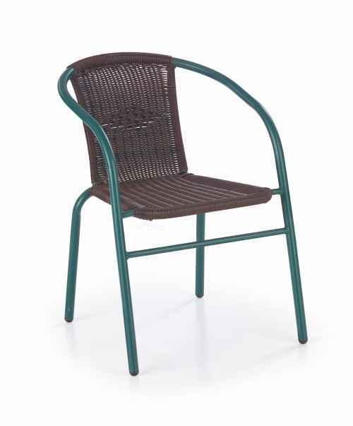 Zahradní židle GRAND 2 tmavě zelená / tmavě hnědá