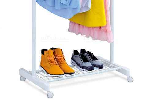Stojan na šaty s odkladačem na boty, chrom / bílá