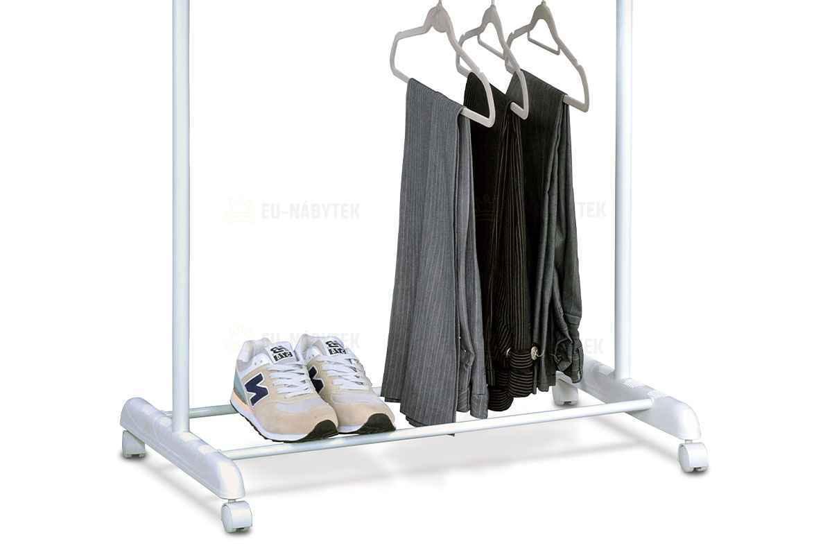Stojan na šaty, bílý plast/chrom