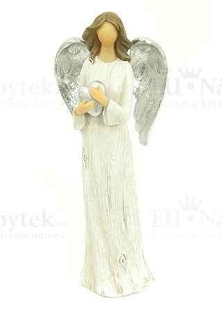 Anděl, polyresinová dekorace, barva šedo-bílo-stříbrná