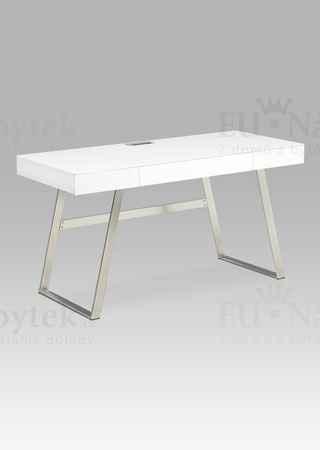 Kancelářský stůl 140x60, bílá MDF mat, broušený nikl, 3 šuplíky