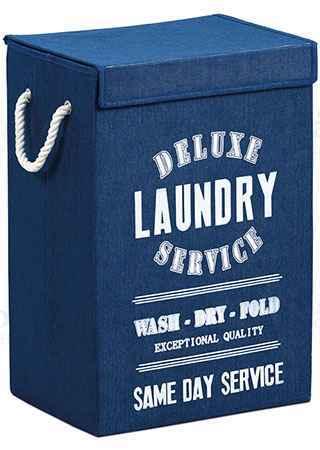 Koš na prádlo plátěný, barva modrá