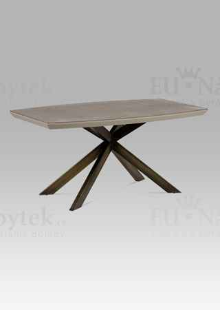 Jídelní stůl 160x95 cm, mat lanýž / sklo dekor kámen / broušený kov antik