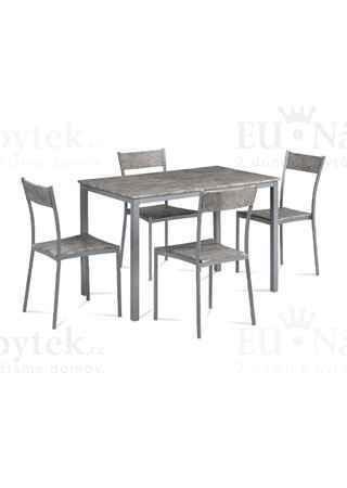 Jídelní set 1+4, šedý kov mat, MDF dekor beton