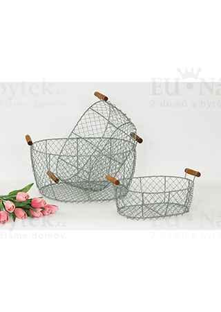 Košík kovový s dřevěnými uchy, dekorační, sada 3 kusy
