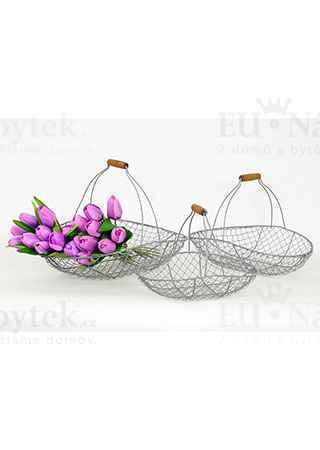 Košík kovový šedy , dekorační, sada 3 kusy