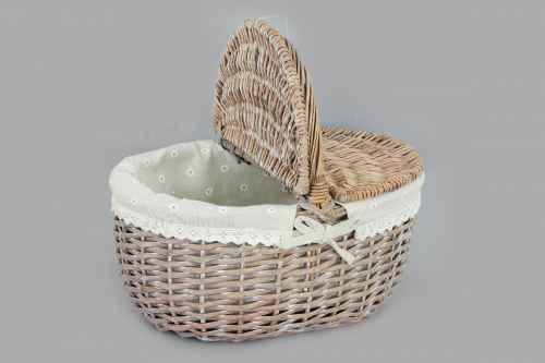 Košík,  proutěná dekorace s látkou,