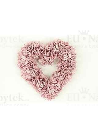 Srdce z pěnových růžiček, barva lila, umělá dekorace