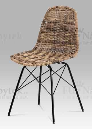 Jídelní židle kov černá / UMĚLÝ ratan melír