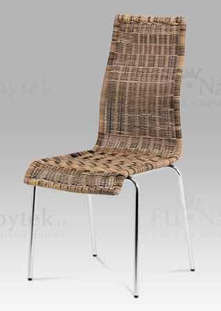 Jídelní židle chrom / UMĚLÝ ratan hn. Melír