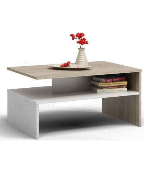 Konferenční stolek VANDAM dub sonoma/bílá