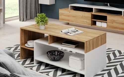 Konferenční stolek ALDA dub grande/bílá