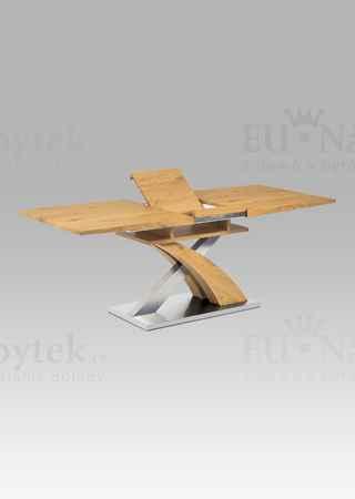 Jídelní stůl rozkládací 160+40x90 cm, MDF dekor dub, broušený nerez + MDF dekor dub