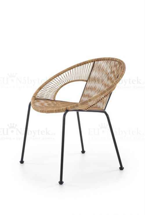 Židle BARI přírodní ratan / černá